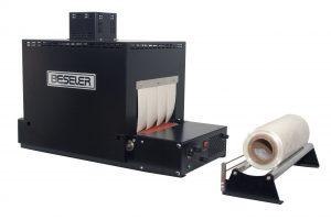 Beseler T-611-JR black model tabletop shrink wrap tunnel