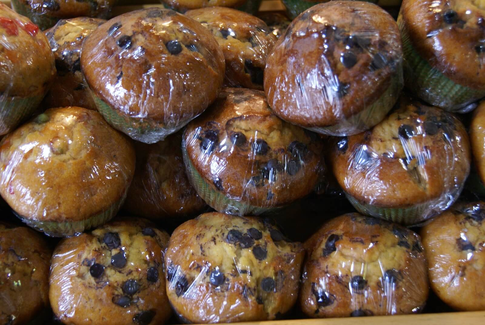 shrink wrapped chocolate chip muffins